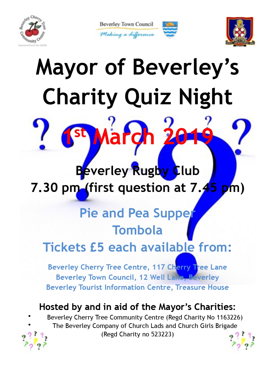 Mayor's Charity Quiz Night Poster 2019